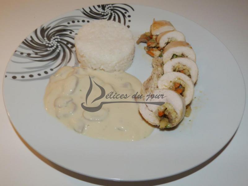 Escalope de poulet farcie aux légumes