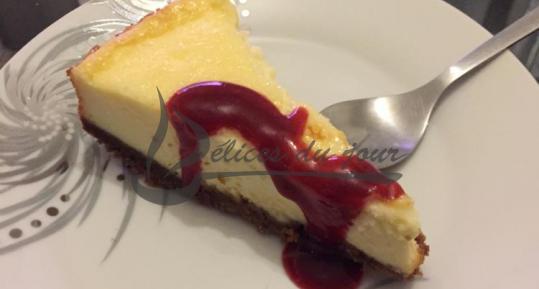 Cheesecake citron et coulis framboise